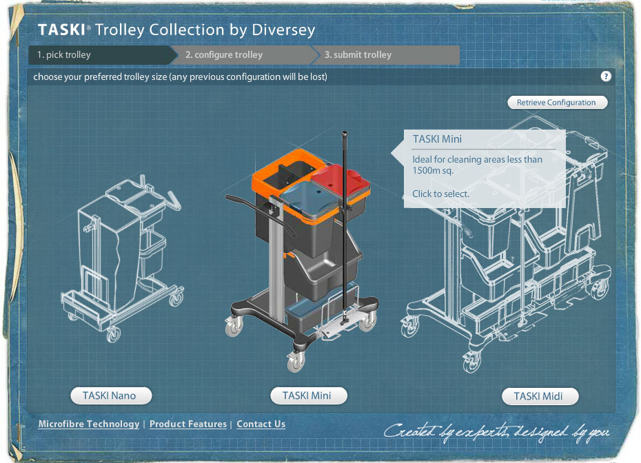 Sleek Flash interface for creating cleaning trolleys