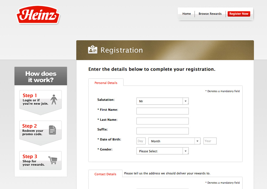Registration - Desktop View